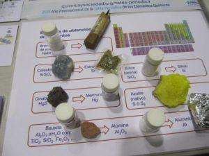 Ejemplos de elementos químicos y los minerales de los que se obtienen por procedimientos químicos y físicos.