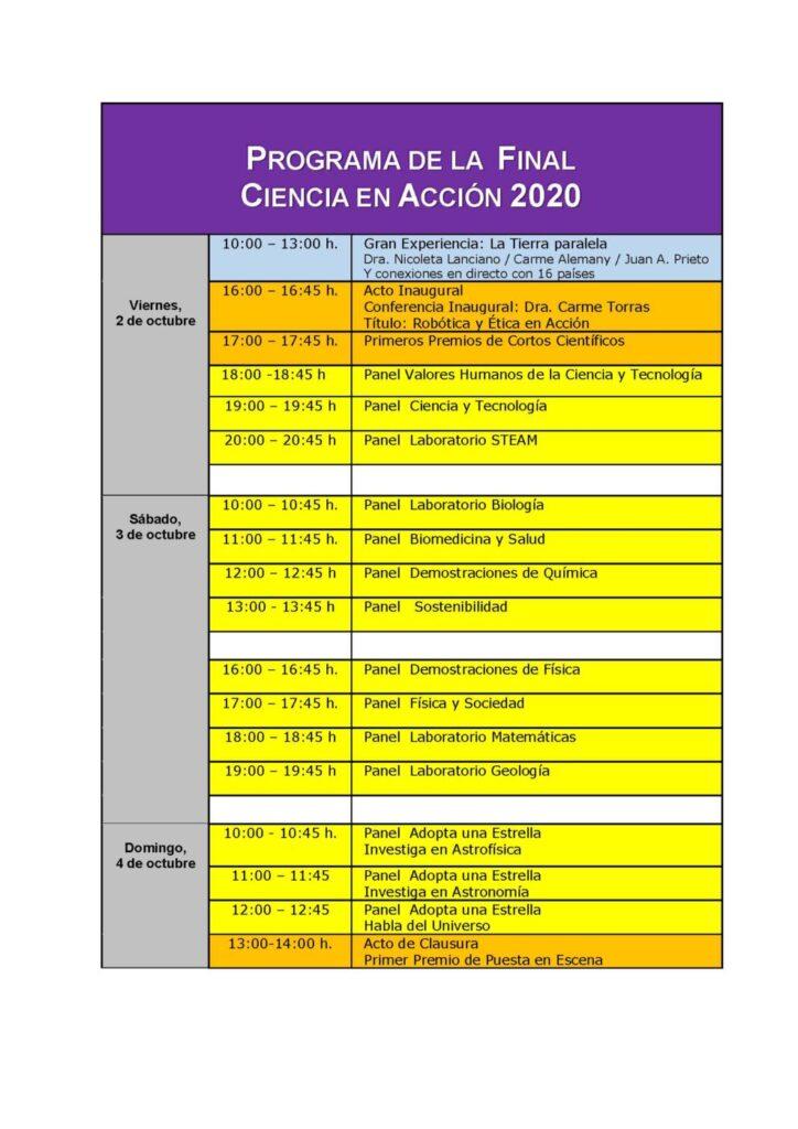 Programa Final Online Ciencia En Accion 2020
